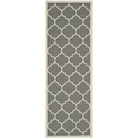 Safavieh Courtyard Moroccan Pattern Anthracite/ Beige Indoor/ Outdoor Runner Rug - 2'3 x 6'7