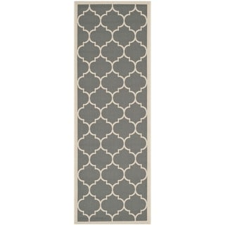 Safavieh Courtyard Moroccan Pattern Anthracite/ Beige Indoor/ Outdoor Runner Rug (2'3 x 8')