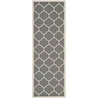 Safavieh Courtyard Moroccan Pattern Anthracite/ Beige Indoor/ Outdoor Runner Rug - 2'3 x 8'