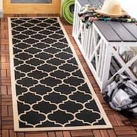 Safavieh Courtyard Moroccan Pattern Black/ Beige Indoor/ Outdoor Rug - 2'3 x 14'