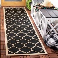 """Safavieh Courtyard Moroccan Pattern Black/ Beige Indoor/ Outdoor Rug - 2'3"""" x 8'"""