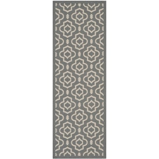 "Safavieh Indoor/ Outdoor Courtyard Contemporary Anthracite/ Beige Rug (2'3"" x 6'7"")"