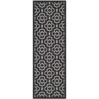 "Safavieh Indoor/ Outdoor Courtyard Black/ Beige Area Rug - 2'3"" x 10'"