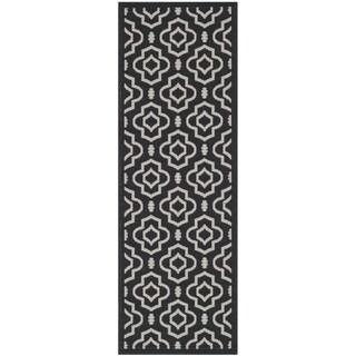 Safavieh Contemporary Indoor/ Outdoor Courtyard Black/ Beige Rug (2'3 x 6'7)