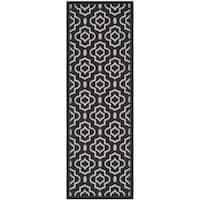 Safavieh Contemporary Indoor/ Outdoor Courtyard Black/ Beige Rug - 2'3 x 6'7