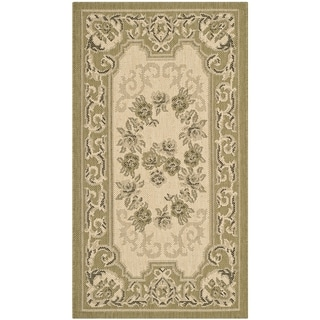 Safavieh Indoor/ Outdoor Courtyard Cream/ Green Rug (2' x 3'7)