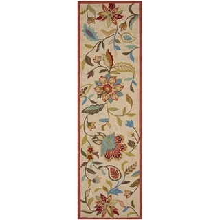Safavieh Indoor/ Outdoor Four Seasons Ivory/ Rust Rug (2'3 x 8')