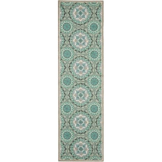 Safavieh Indoor/ Outdoor Four Seasons Mint/ Aqua Rug (2'3 x 10')