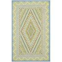 Safavieh Hand-Hooked Four Seasons Blue/ Yellow Polyester Rug - 5' x 8'