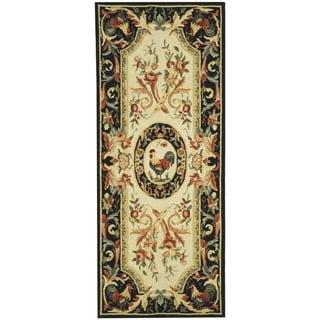 Safavieh Hand-hooked Chelsea Ivory/ Black Wool Rug (2'6 x 10')
