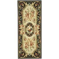 Safavieh Hand-hooked Chelsea Ivory/ Black Wool Rug - 2'6 x 12'