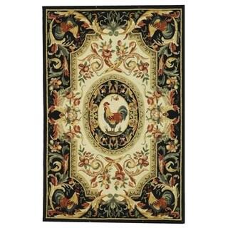 Safavieh Hand-hooked Chelsea Ivory/ Black Wool Rug (3'9 x 5'9)