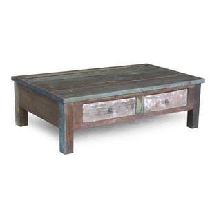 Handmade Old Reclaimed Wood Coffee Table with Double Drawers (India)