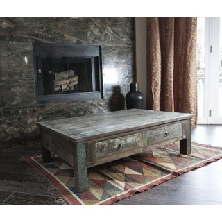 Timbergirl Old Reclaimed Wood Coffee Table and Double Drawers (India)