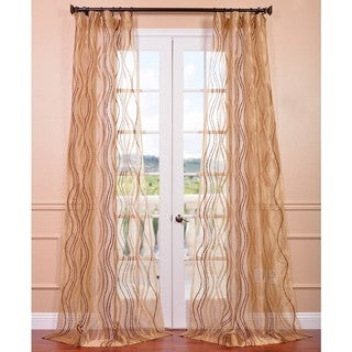 Exclusive Fabrics Alegra Gold Embroidered Sheer Curtain Panel