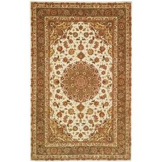 Safavieh Handmade Persian Court Ivory/ Light Olive Wool/ Silk Rug (9' x 12')