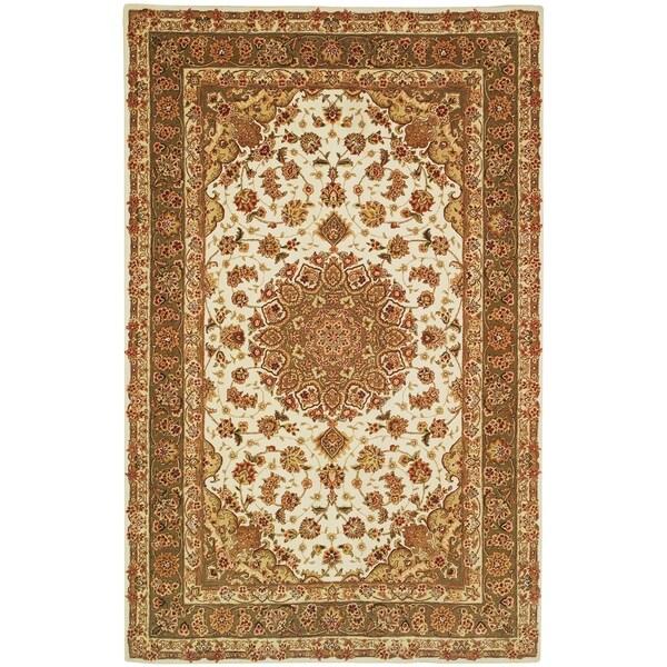 Safavieh Handmade Persian Court Ivory/ Light Olive Wool/ Silk Rug - 9' x 12'