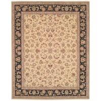 Safavieh Handmade Persian Court Beige/ Black Wool/ Silk Rug - 5' x 8'