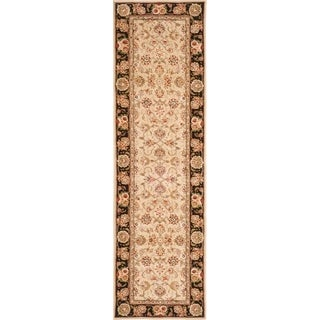 Safavieh Handmade Persian Court Beige/ Black Wool/ Silk Rug (2'6 x 8')