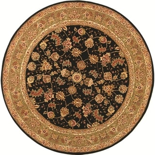 Safavieh Handmade Persian Court Black/ Light Green Wool/ Silk Rug (8' Round)