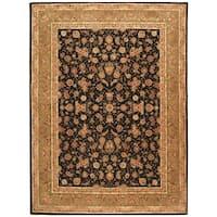 Safavieh Handmade Persian Court Black/ Light Green Wool/ Silk Rug - 5' x 8'