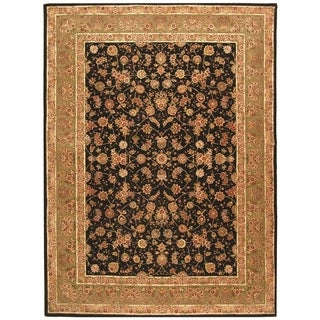 Safavieh Handmade Persian Court Black/ Light Green Wool/ Silk Rug (8' x 10')