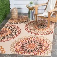 Safavieh Indoor/ Outdoor Veranda Cream/ Red Area Rug (4' x 5'7) - 4' x 5'7