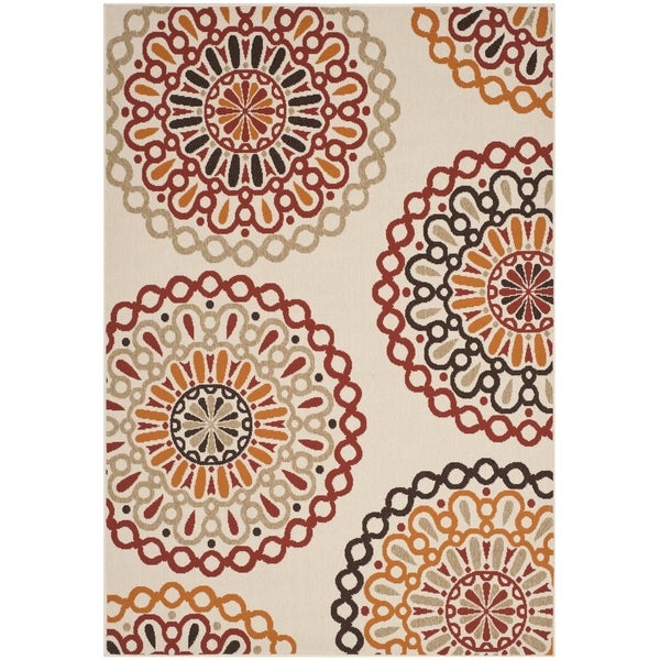 Safavieh indoor outdoor veranda cream red area rug 5 39 3 for Cream and red rugs