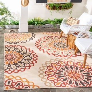 Safavieh Indoor/ Outdoor Veranda Cream/ Red Polypropylene Rug (6'7 x 9'6)