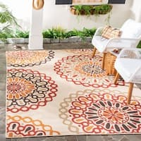 Safavieh Indoor/ Outdoor Veranda Cream/ Red Polypropylene Rug - 6'7 x 9'6