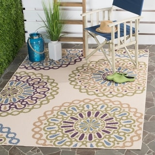 Safavieh Indoor/ Outdoor Veranda Cream/ Green Rug (5'3 x 7'7)