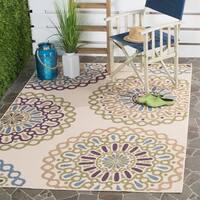 Safavieh Indoor/ Outdoor Veranda Cream/ Green Rug (6'7 x 9'6)
