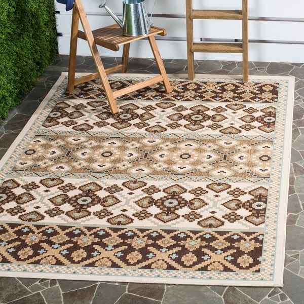 Safavieh Indoor/ Outdoor Veranda Cream/ Chocolate Rug - 8' x 11'2