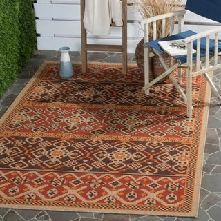Safavieh Indoor/ Outdoor Veranda Red/ Chocolate Area Rug - 4' x 5'7