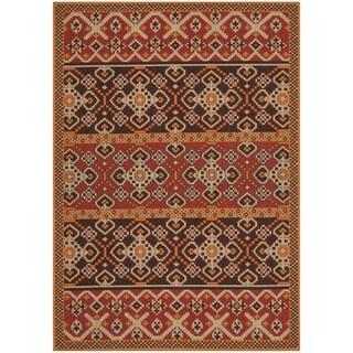 Safavieh Indoor/ Outdoor Veranda Red/ Chocolate Area Rug (4' x 5'7)