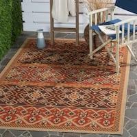 Safavieh Indoor/ Outdoor Veranda Red/ Chocolate Rug (5'3 x 7'7)