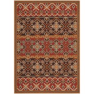 Safavieh Indoor/ Outdoor Veranda Red/ Chocolate Rug (8' x 11'2)