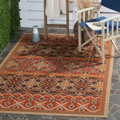 Safavieh Indoor/ Outdoor Veranda Red/ Chocolate Rug - 8' x 11'