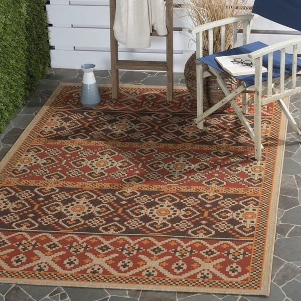 Safavieh Indoor/ Outdoor Veranda Red/ Chocolate Rug - 8' x 11'2