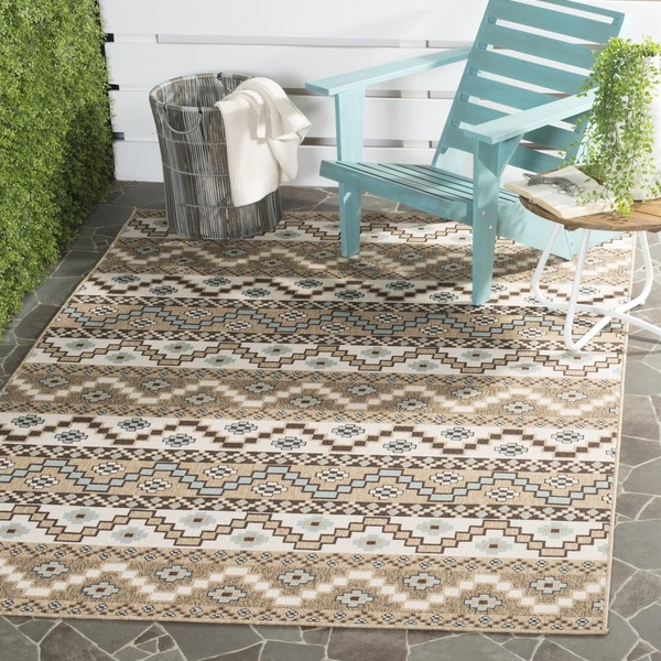 Safavieh Indoor Outdoor Veranda Cream Brown Rug 5 3 X