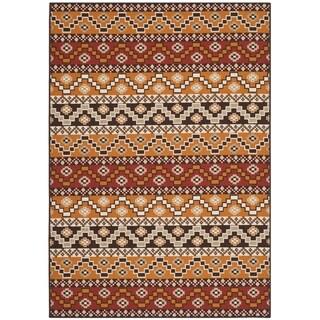 Safavieh Indoor/ Outdoor Veranda Red/ Chocolate Rug (4' x 5'7)