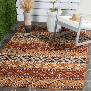 Safavieh Contemporary Indoor/ Outdoor Veranda Red/ Chocolate Rug (8' x 11'2)