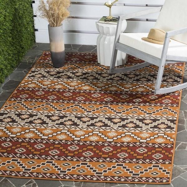 Safavieh Contemporary Indoor/ Outdoor Veranda Red/ Chocolate Rug (8' x 11'2)