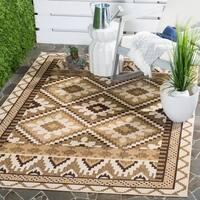 Safavieh Indoor/ Outdoor Veranda Cream/ Brown Contemporary Rug (5'3 x 7'7)