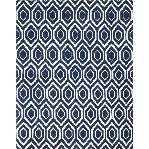 Safavieh Handmade Moroccan Chatham Dark Blue/ Ivory Geometric Wool Rug - 8' x 10'