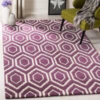 Safavieh Handmade Moroccan Chatham Purple/ Ivory Wool Rug - 4' x 6'