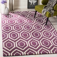 Safavieh Handmade Moroccan Chatham Purple/ Ivory Wool Area Rug - 8' x 10'