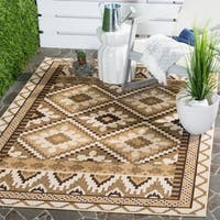 Safavieh Indoor/ Outdoor Veranda Contemporary Cream/ Brown Rug - 8' x 11'2