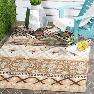 Safavieh Indoor/ Outdoor Veranda Geometric Cream/ Brown Rug (8' x 11'2)