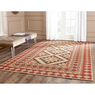 Safavieh Indoor/ Outdoor Veranda Red/ Natural Rug (4' x 5'7)